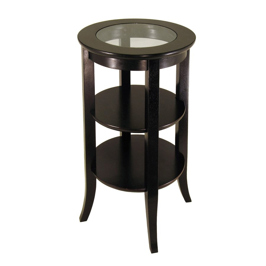 shop winsome wood dark espresso round end table at. Black Bedroom Furniture Sets. Home Design Ideas