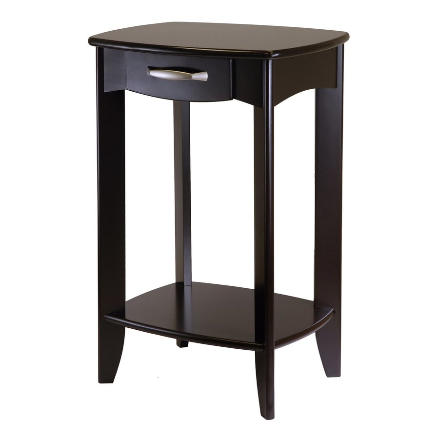 Shop winsome wood dark espresso rectangular end table at for Black wood side table