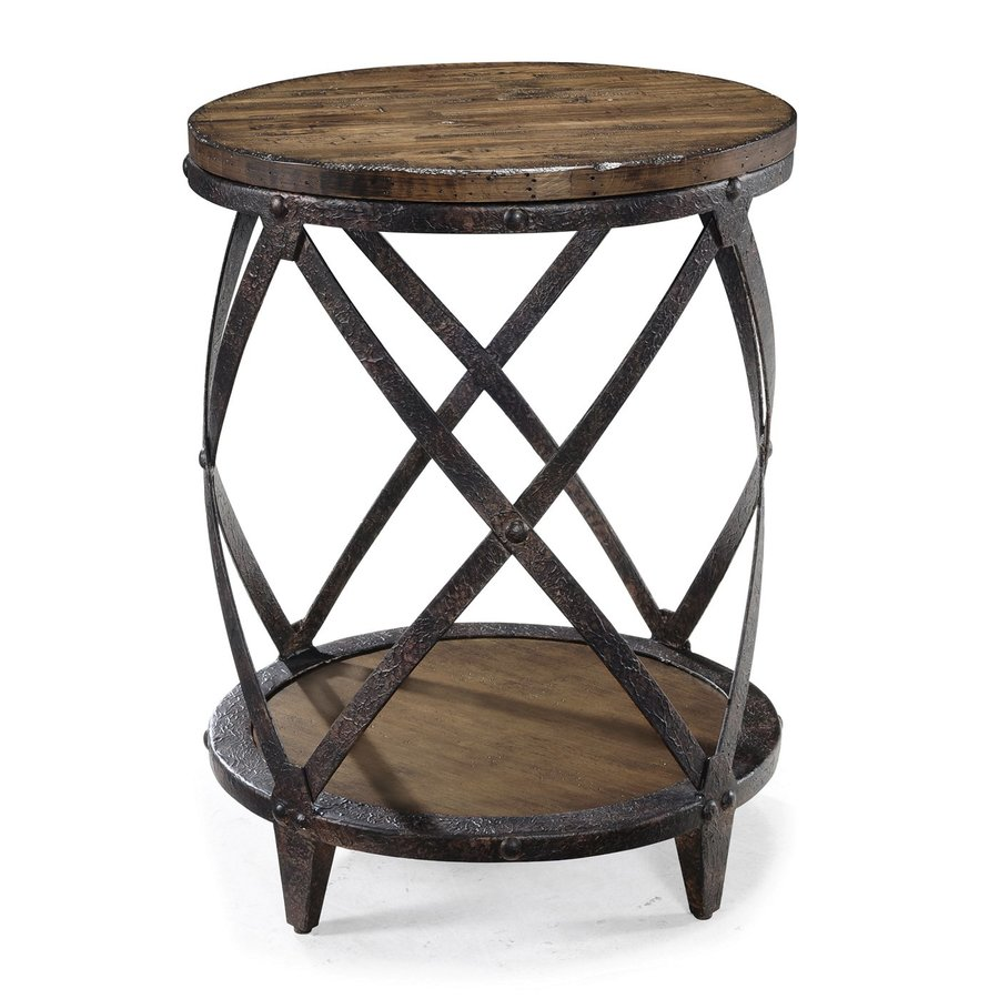 Magnussen Home Pinebrook Distressed Natural Pine Round End Table