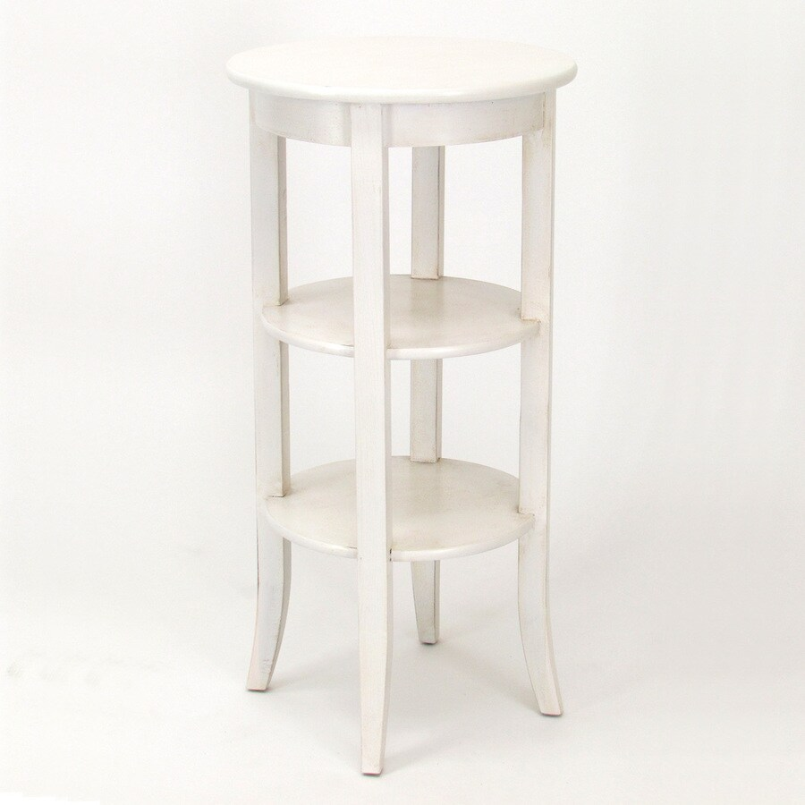 Shop Wayborn Furniture Wallace 36 In Whitewash Indoor Round Wood Plant Stand At
