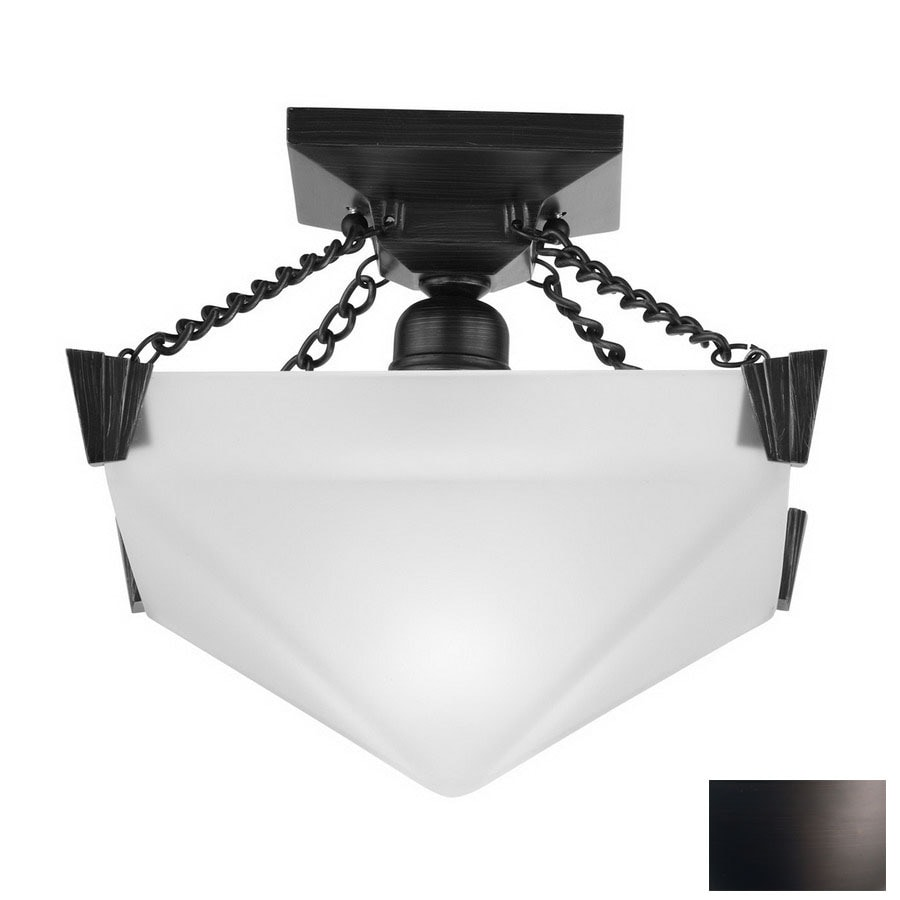 DVI 12-in W Oil-Rubbed Bronze Art Glass Semi-Flush Mount Ceiling Light