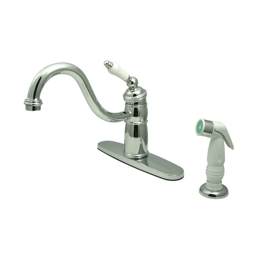 Elements of Design New Orleans Chrome 1-Handle Low-Arc Kitchen Faucet with Side Spray