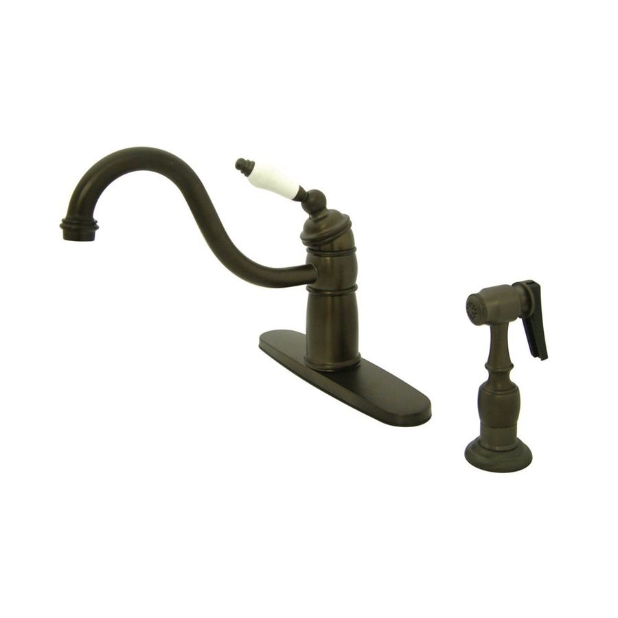 Elements of Design New Orleans Oil-Rubbed Bronze 1-Handle Low-Arc Kitchen Faucet with Side Spray