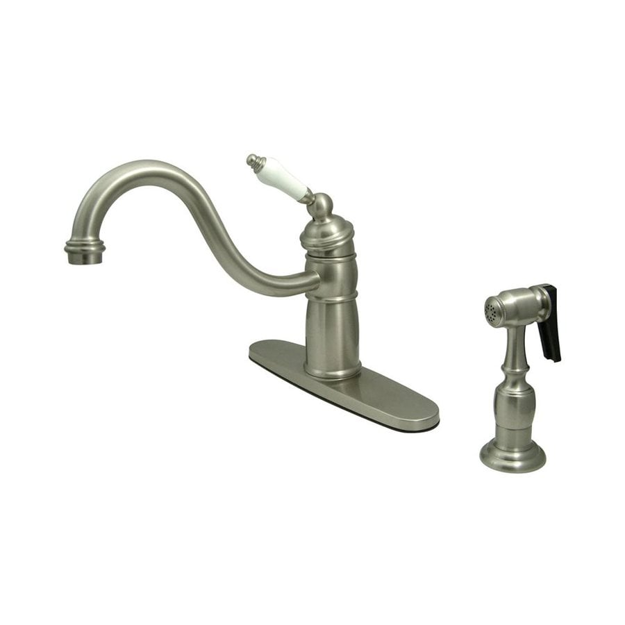 Elements of Design New Orleans Satin Nickel 1-Handle Low-Arc Kitchen Faucet with Side Spray