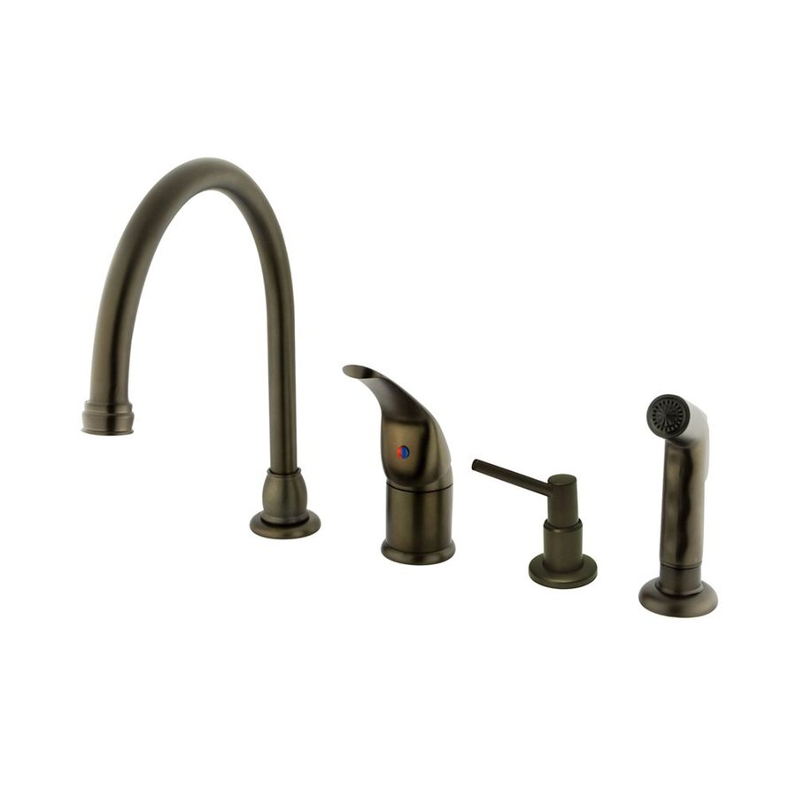 Elements of Design Oil-Rubbed Bronze 1-Handle High-Arc Kitchen Faucet with Side Spray and Soap Dispenser