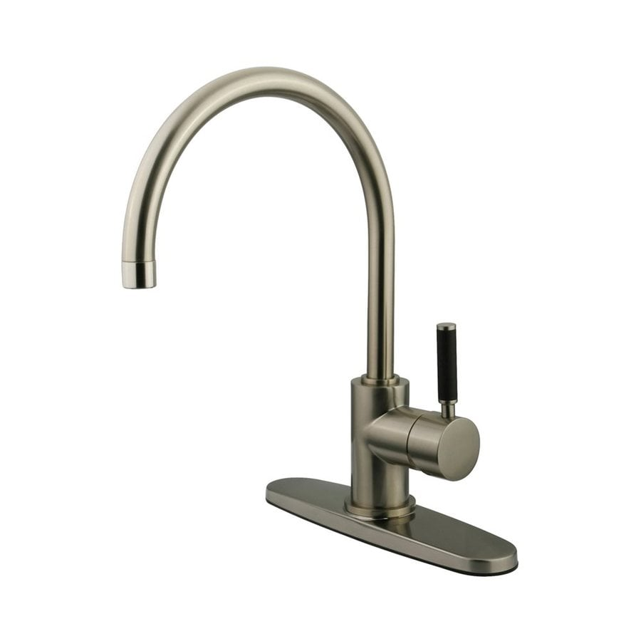Shop Elements Of Design Kaiser Satin Nickel 1 Handle High Arc Kitchen Faucet At