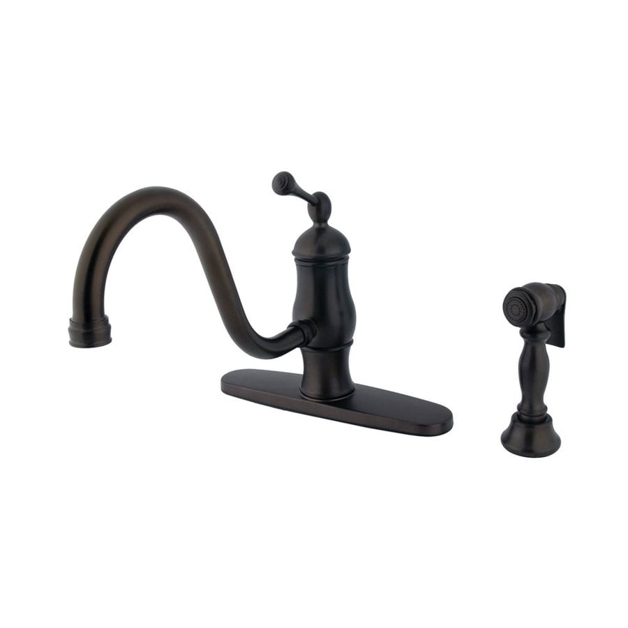 Elements of Design Oil-Rubbed Bronze 1-Handle Low-Arc Kitchen Faucet with Side Spray