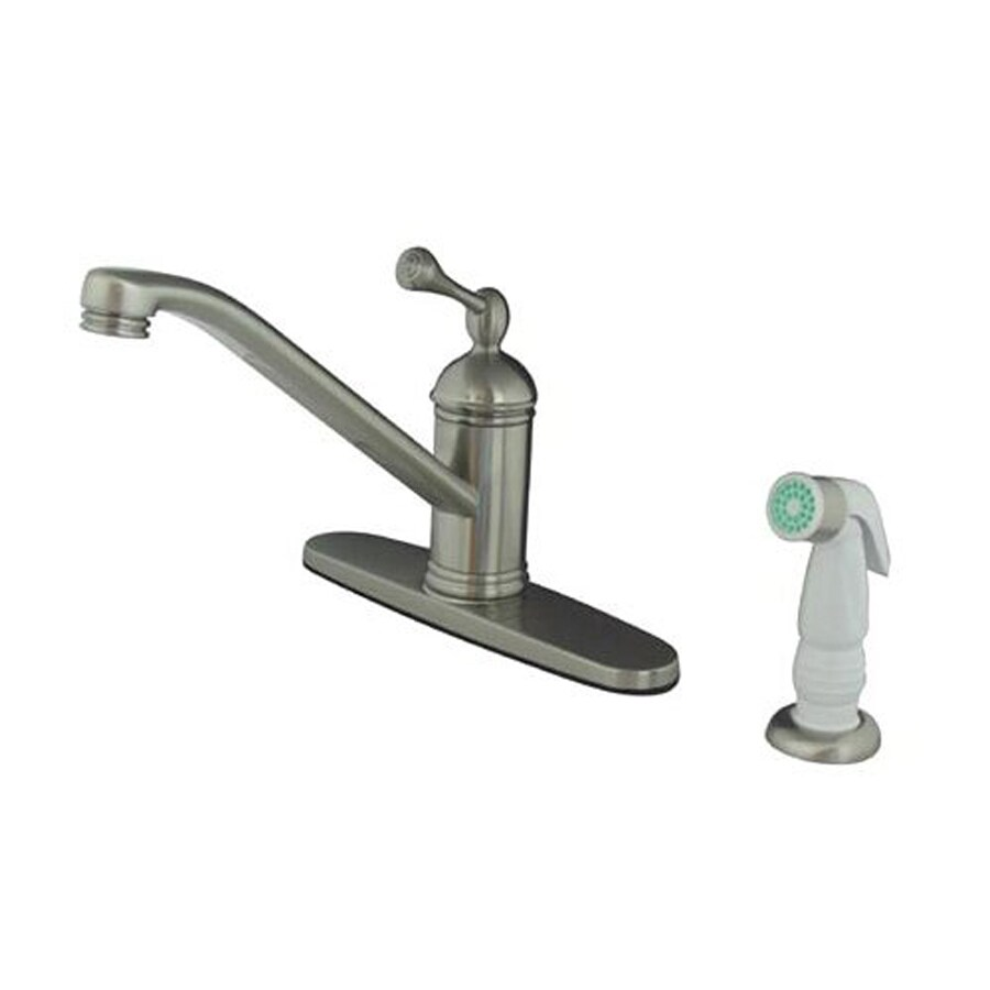 Elements of Design Vintage Satin Nickel 1-Handle Low-Arc Kitchen Faucet with Side Spray