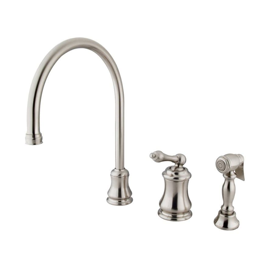 Elements of Design Chicago Satin Nickel 1-Handle High-Arc Kitchen Faucet with Side Spray