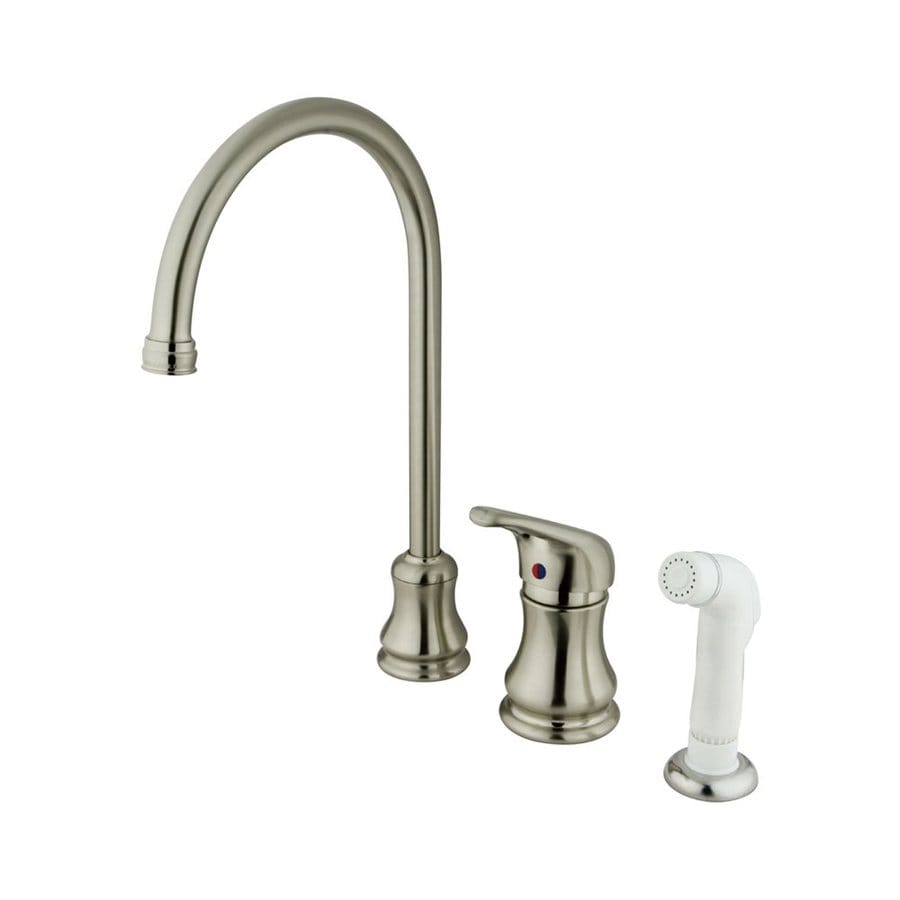Elements of Design Daytona Satin Nickel 1-Handle High-Arc Kitchen Faucet with Side Spray