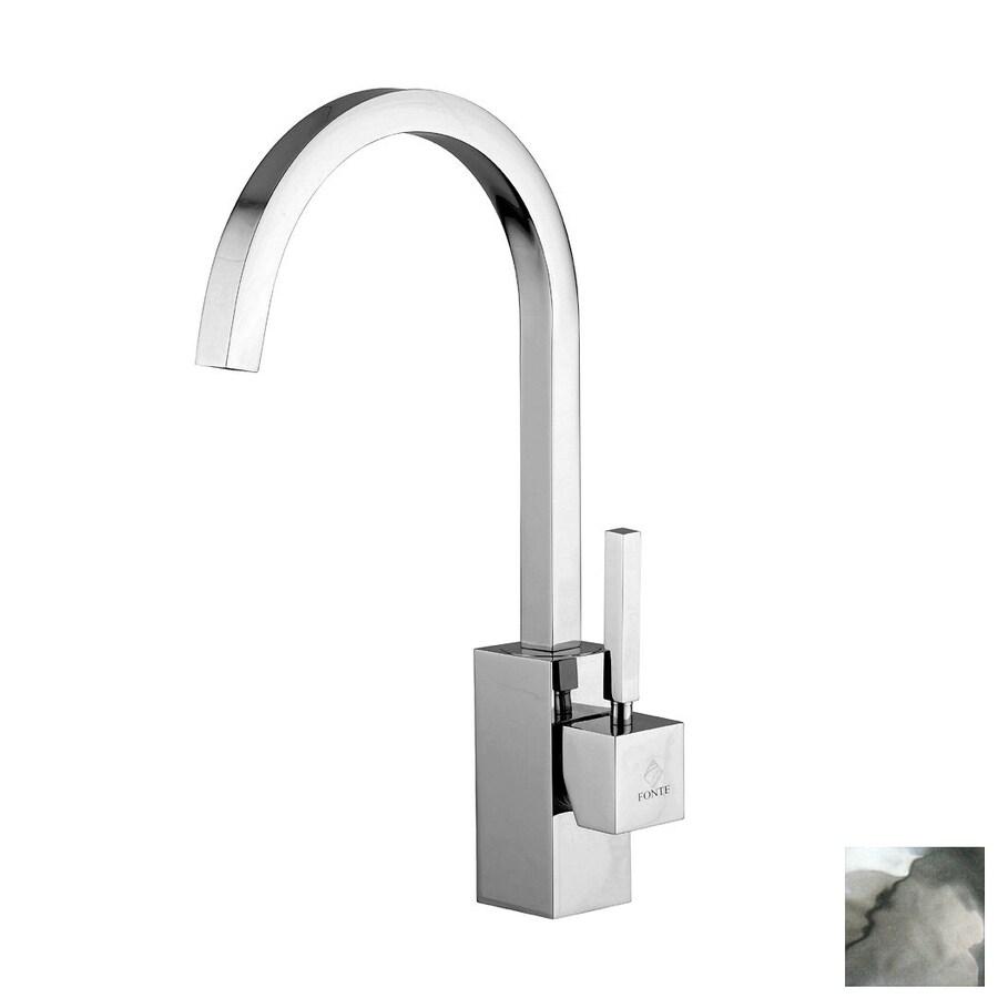WS Bath Collections Fonte Matte Chrome 1-Handle High-Arc Kitchen Faucet