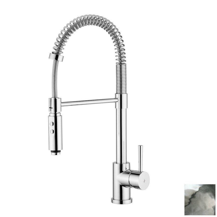 WS Bath Collections Fonte Matte Chrome 1-Handle Pull-Down Kitchen Faucet