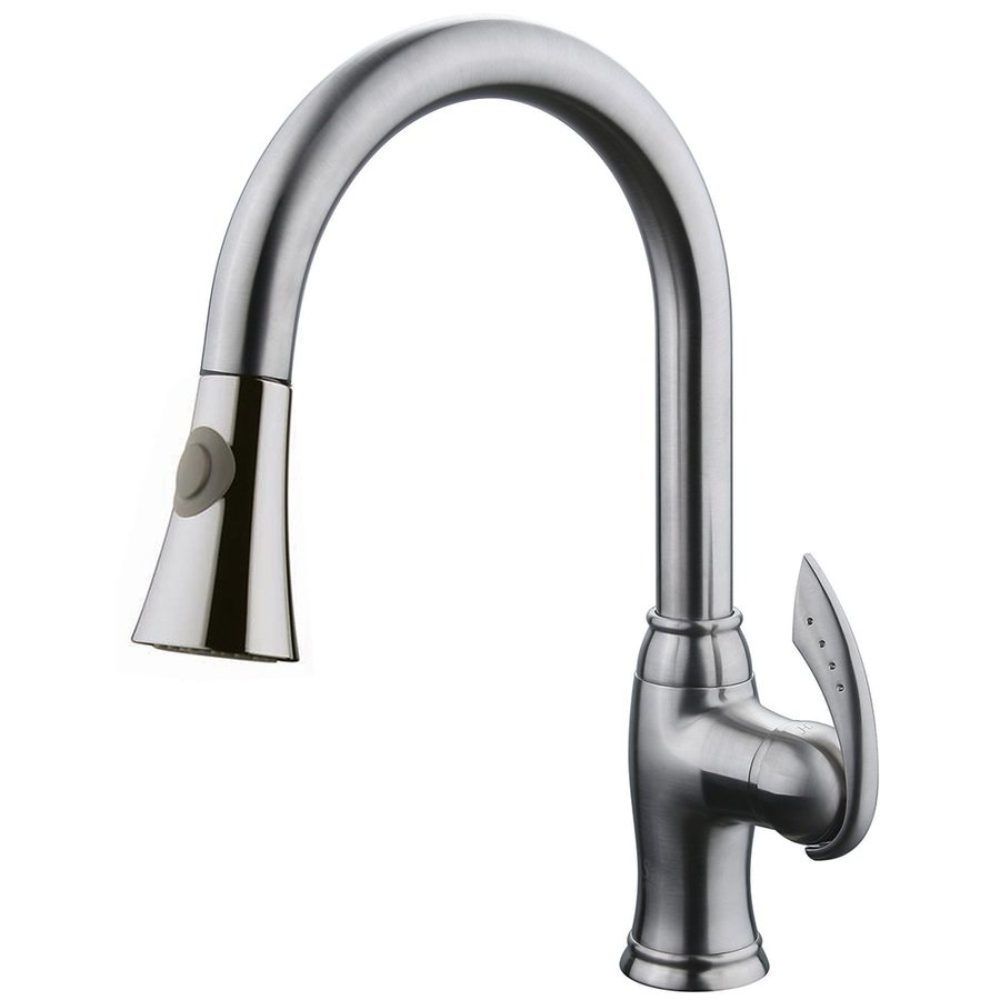 Shop yosemite home decor brushed nickel 1 handle pull down kitchen faucet at Design house kitchen faucets reviews