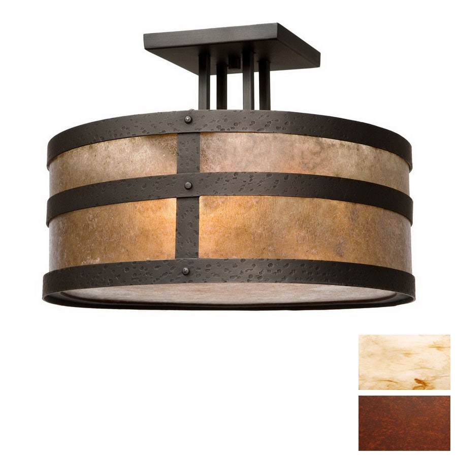 Steel Partners 18-in Rust  Semi-Flush Mount Light
