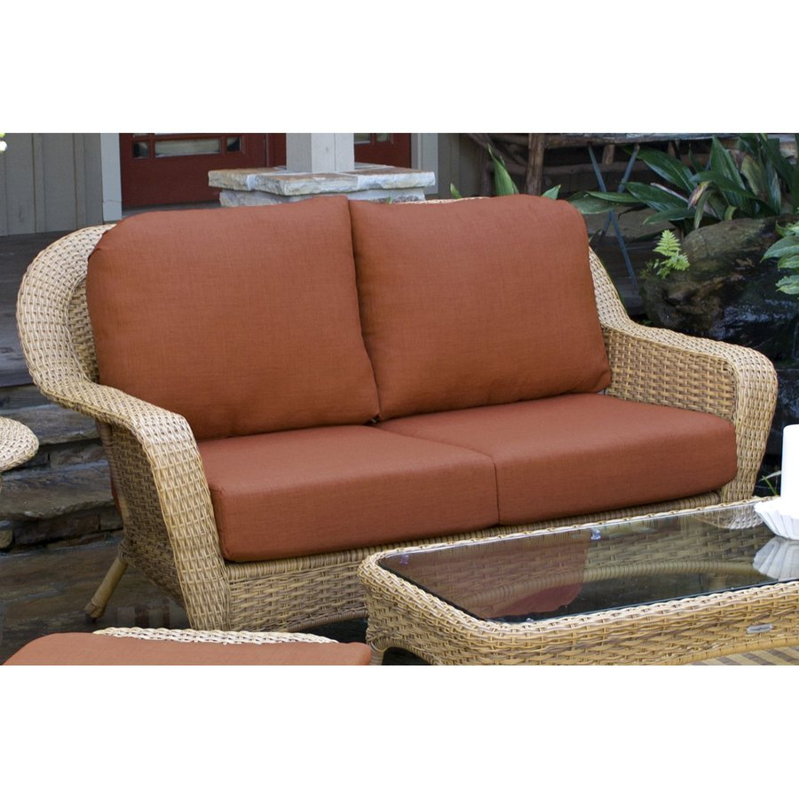 Shop tortuga outdoor lexington solid cushion mojave wicker loveseat at Loveseat cushions outdoor