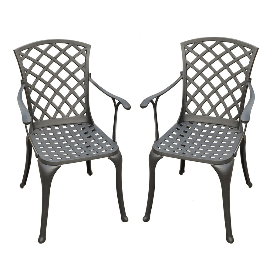 Shop crosley furniture sedona 2 count charcoal black for Aluminium garden chairs