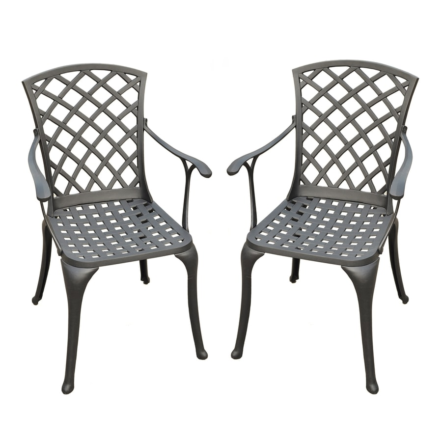 Crosley Furniture Sedona 2-Count Charcoal Black Aluminum Patio Dining Chair