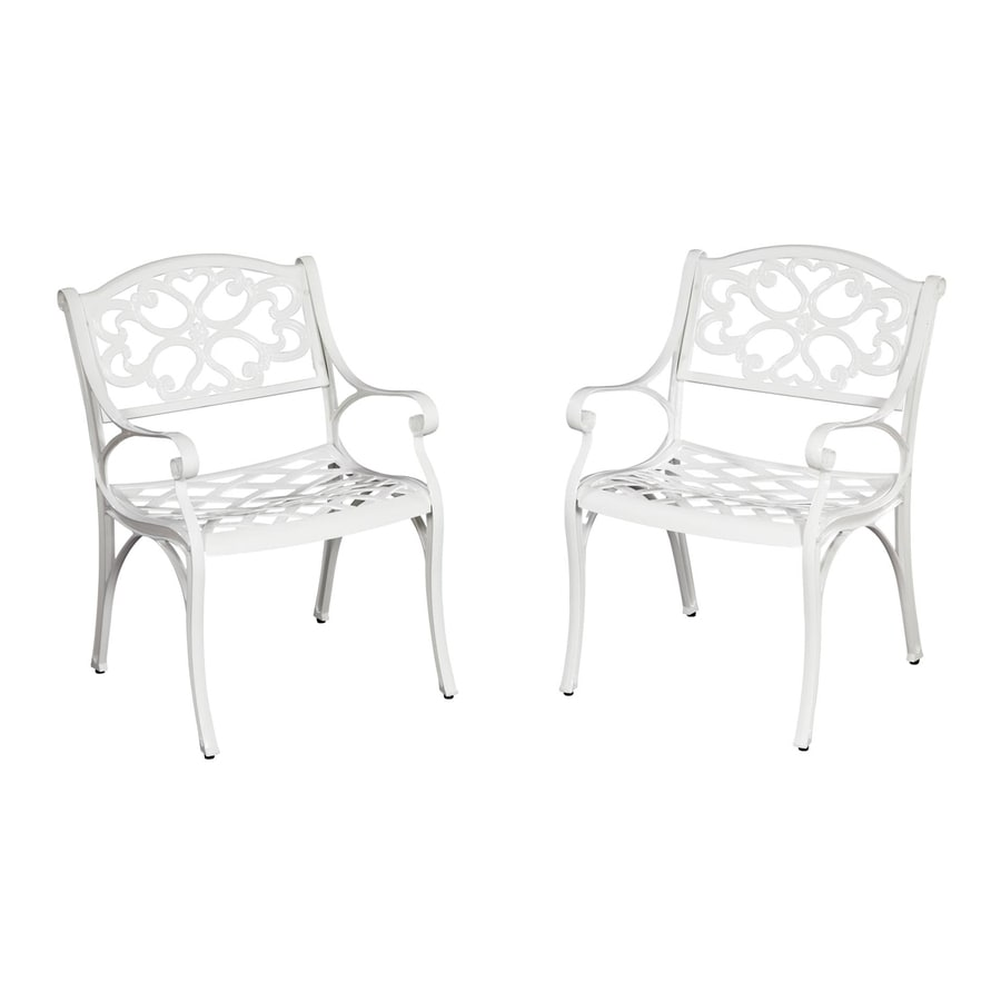 Home Styles Biscayne 2-Count White Aluminum Patio Dining Chairs