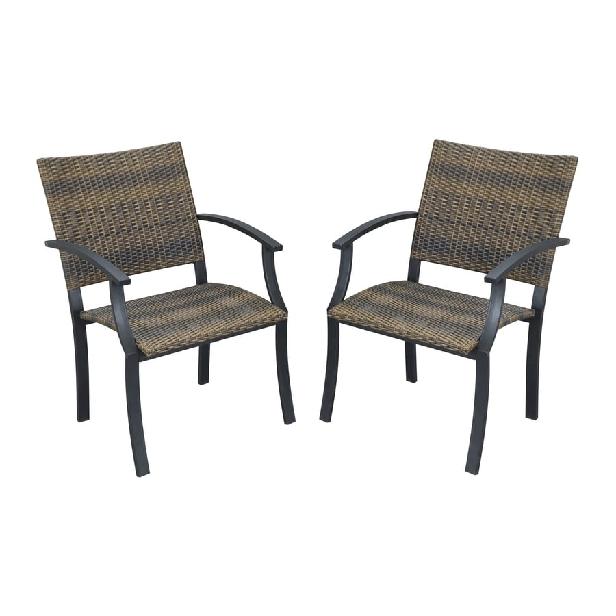 styles newport 2 count black brown steel stackable patio dining chairs