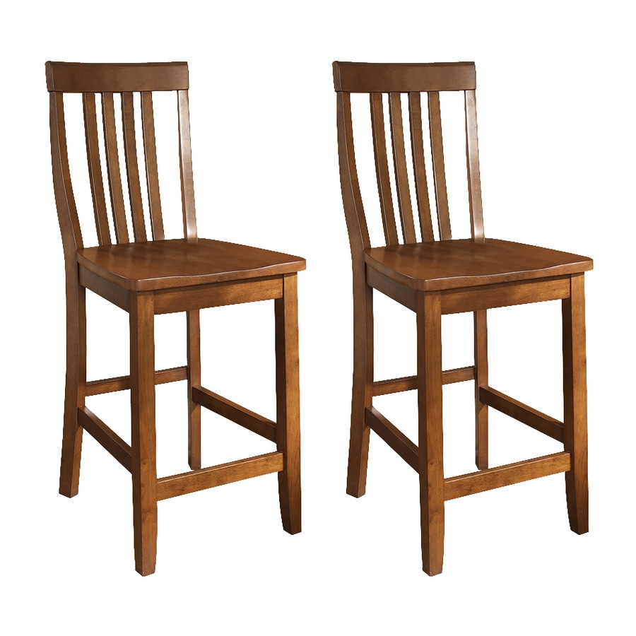 Crosley Furniture Set of 2 School House Classic Cherry 24-in Counter Stool