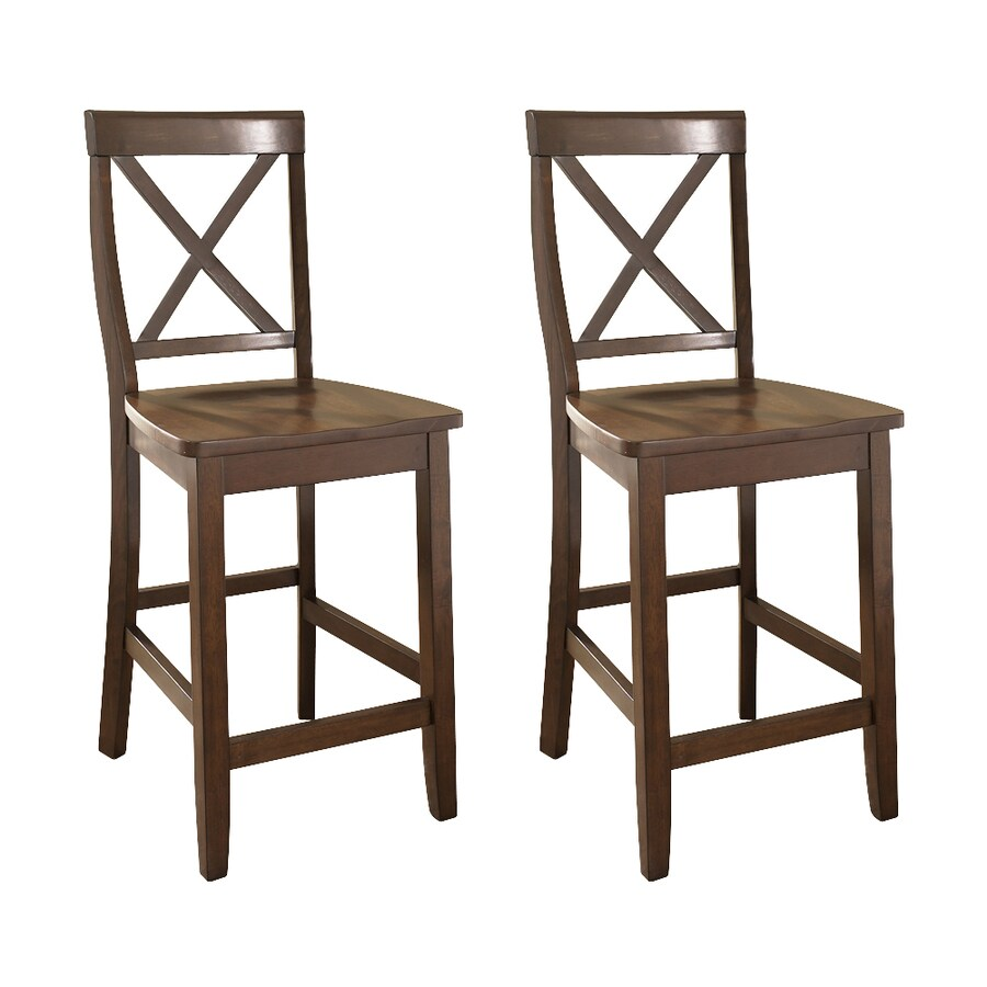 Crosley Furniture Set of 2 Vintage Mahogany 24-in Counter Stool