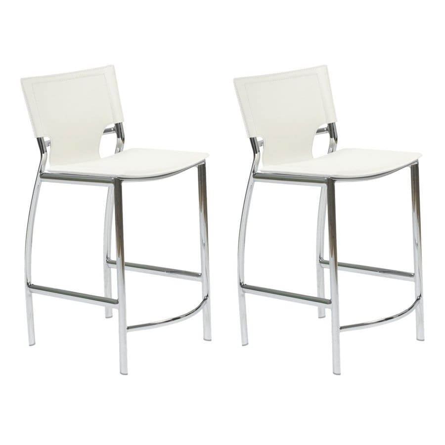 Eurostyle Set of 2 Vinnie Chrome 24-in Counter Stool