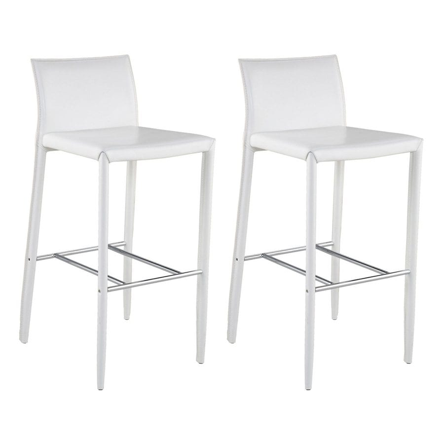 Eurostyle Set of 2 Shen White 30-in Bar Stool
