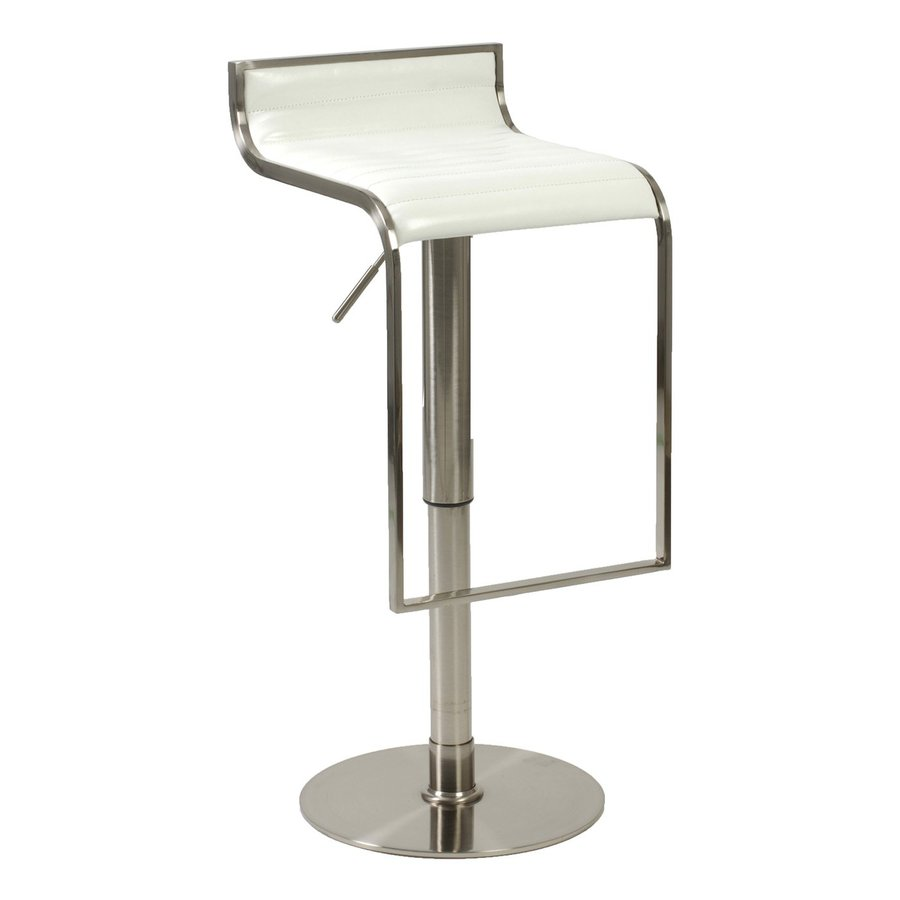 Eurostyle Forest Satin Nickel/White 31-in Adjustable Stool