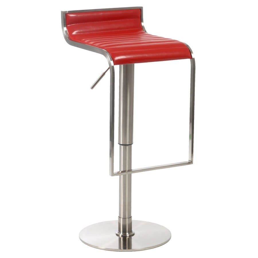 Eurostyle Forest Satin Nickel/Red 31-in Adjustable Stool