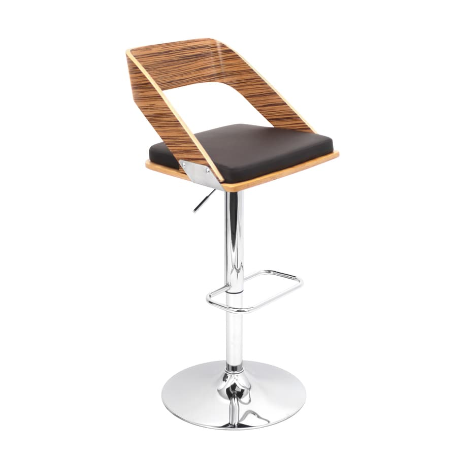 Lumisource Vuno Chrome 31.5-in Adjustable Stool