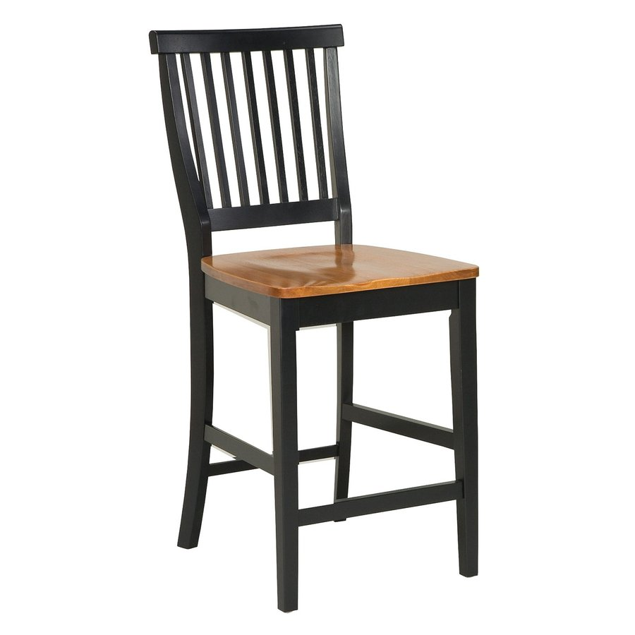 Home Styles Black/Cottage Oak 24-in Counter Stool