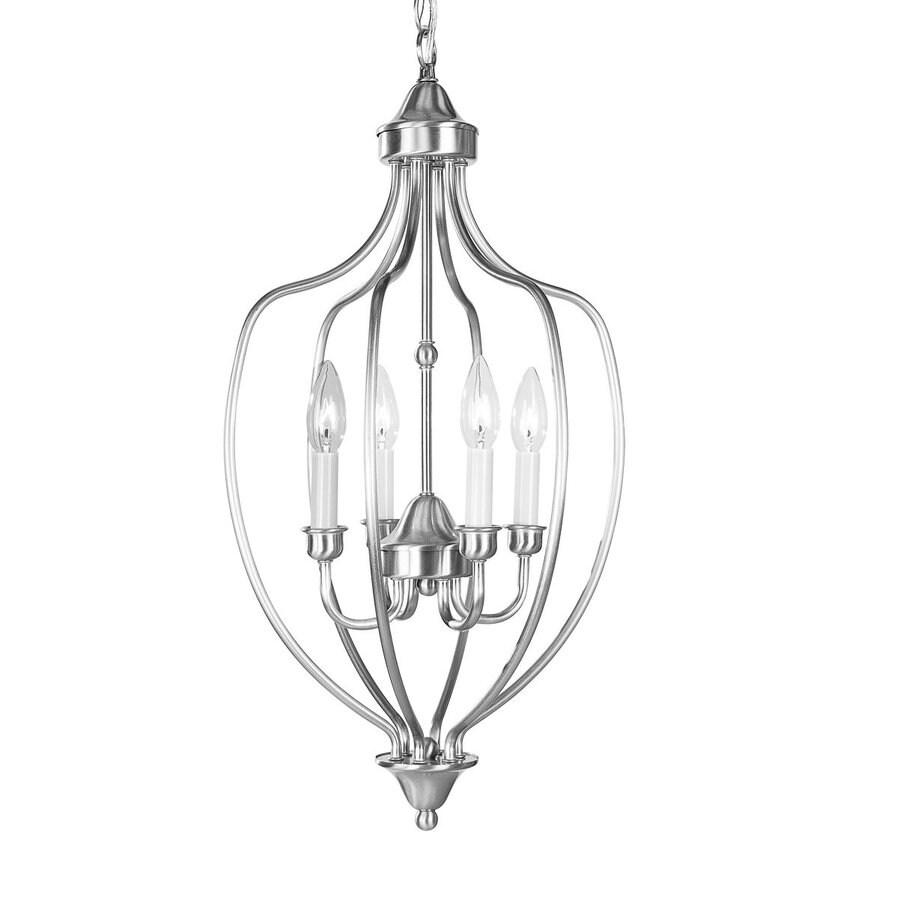Livex Lighting Home Basics 13-in Brushed Nickel Vintage Single Cage Pendant