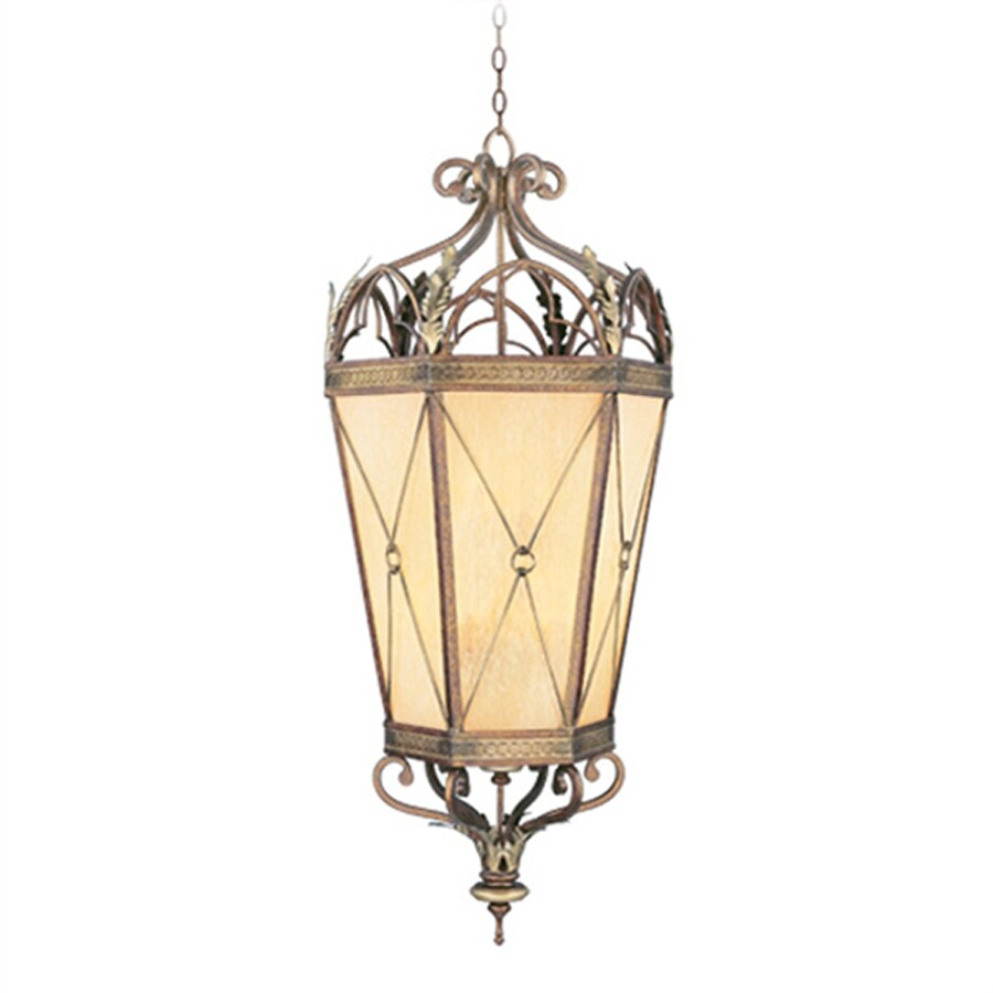 Livex Lighting Bristol Manor 21-in Palatial Bronze Mediterranean Single Art Glass Lantern Pendant