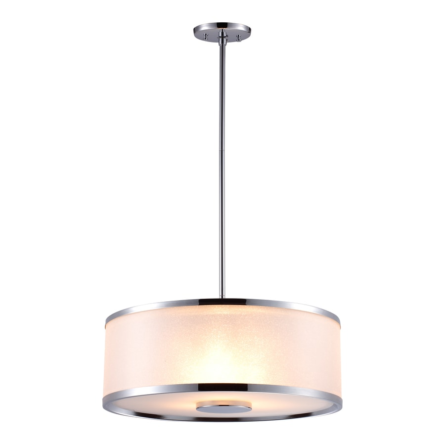DVI Milan 18.5-in Chrome Wrought Iron Single Tinted Glass Drum Pendant