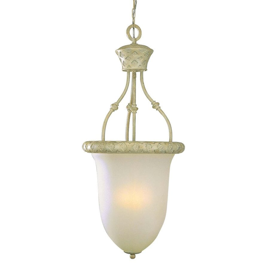 Volume International Alexandria 15.5-in Golden Coral Country Cottage Single Etched Glass Acorn Pendant