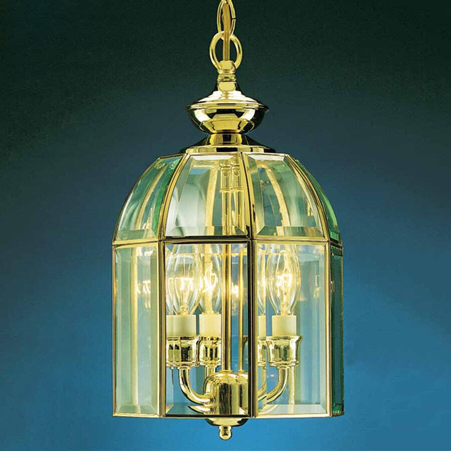 Volume International 8.5-in Polished Brass Vintage Mini Clear Glass Lantern Pendant