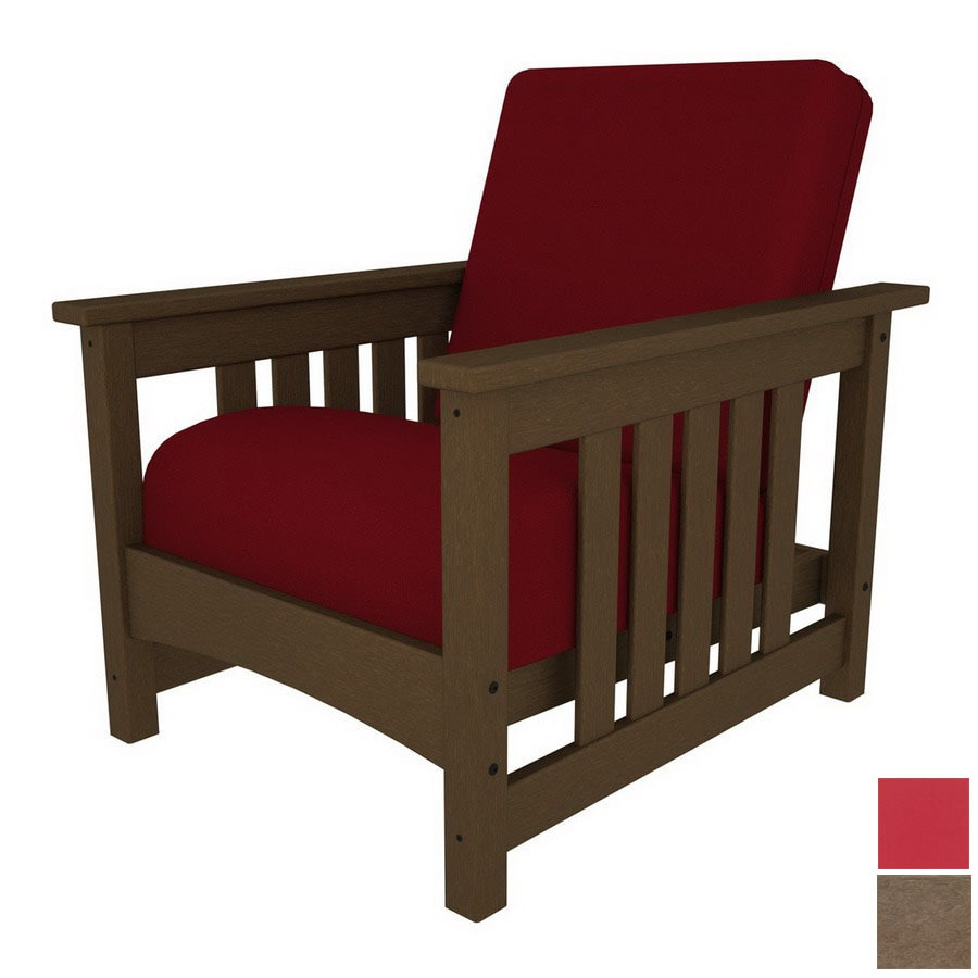 Shop polywood deep seating club mission plastic patio chair with solid red cushion at - Red plastic outdoor chairs ...