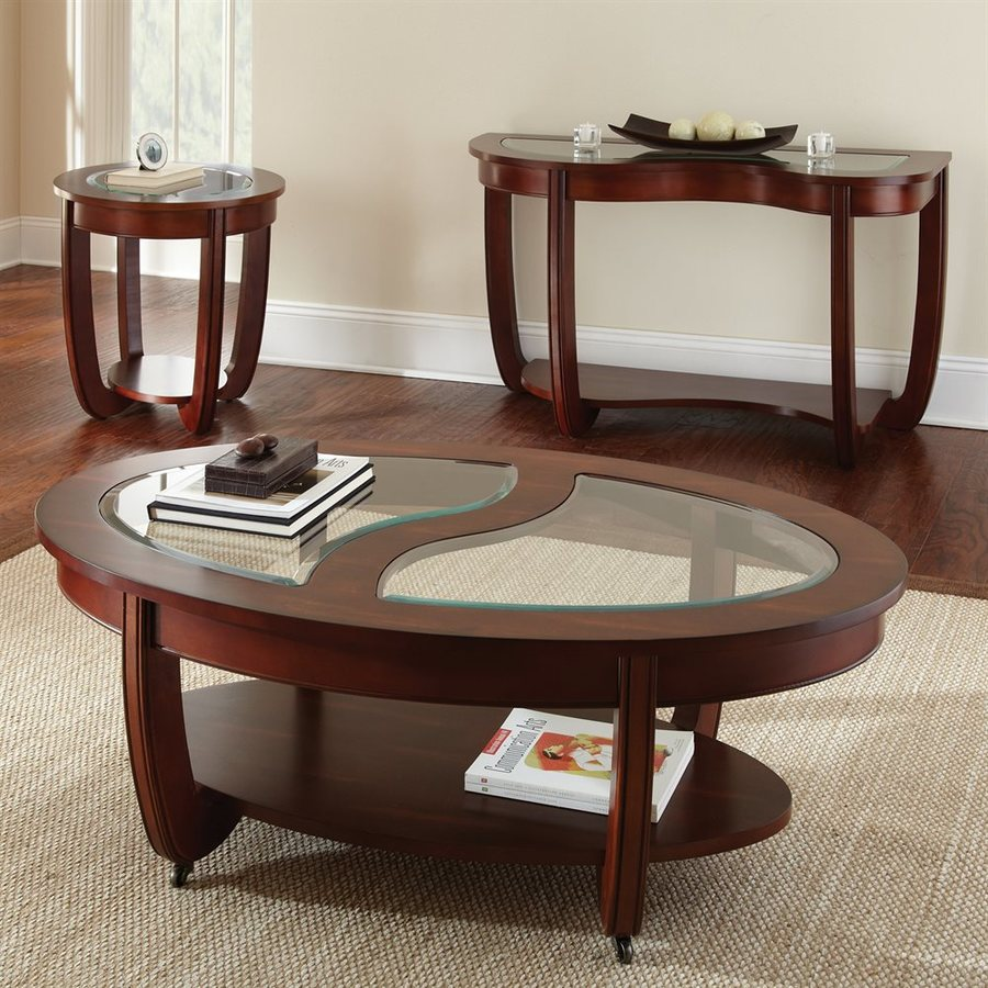 Oval Coffee Table With Metal Legs: Shop Steve Silver Company London Cherry Oval Coffee Table