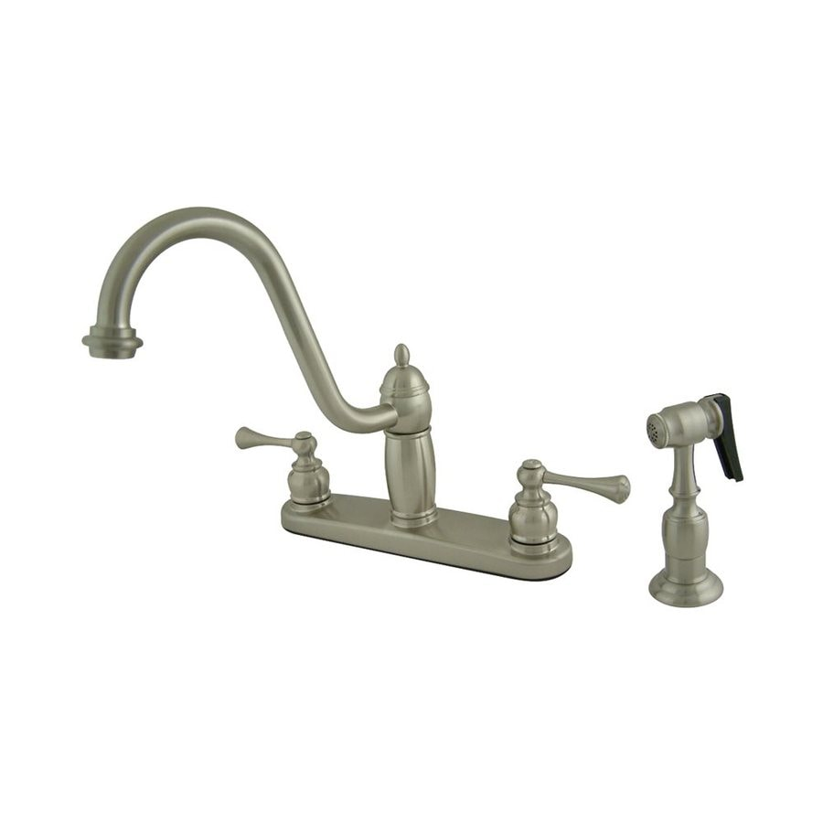 Elements of Design New Orleans Satin Nickel 2-Handle High-Arc Sink/Counter Mount Kitchen Faucet with Side Spray