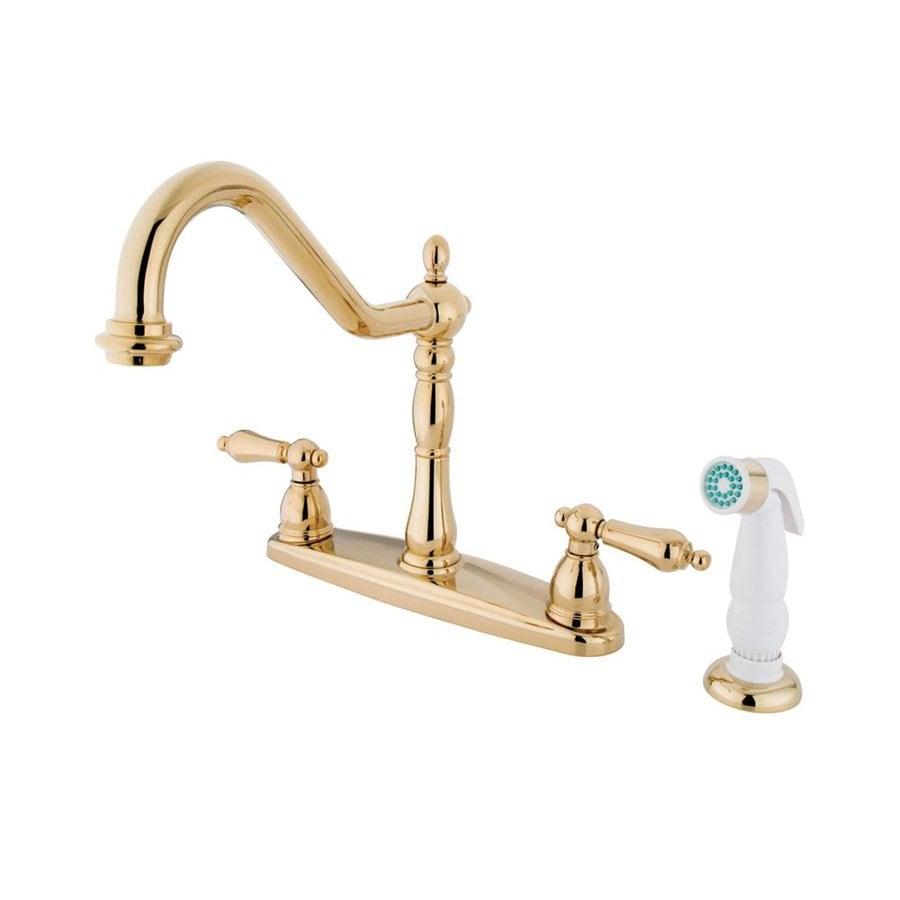Shop elements of design heritage polished brass 2 handle high arc sink counter mount kitchen for Polished brass high arc bathroom faucet
