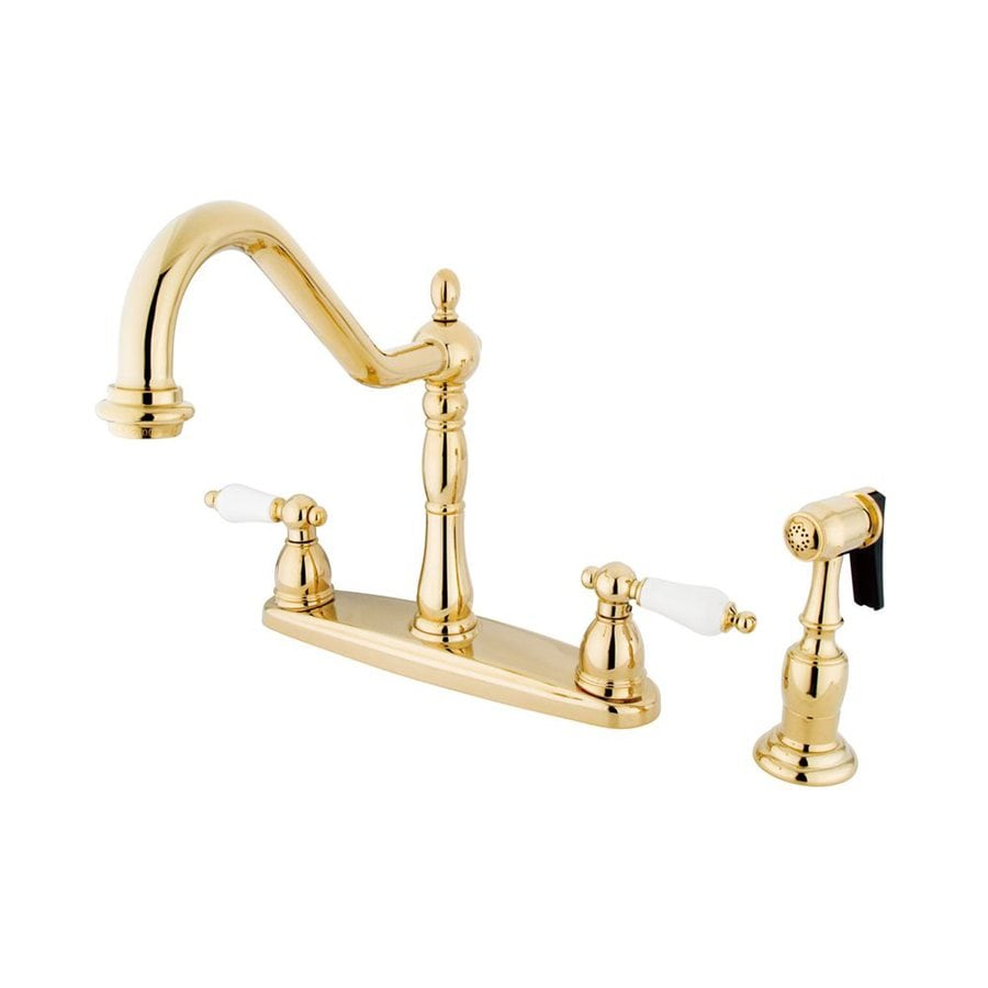 Elements of Design Heritage Polished Brass 2-Handle High-Arc Sink/Counter Mount Kitchen Faucet with Side Spray
