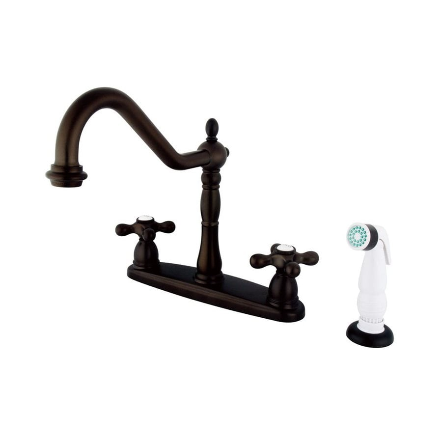 Elements of Design Heritage Oil-Rubbed Bronze 2-Handle High-Arc Sink/Counter Mount Kitchen Faucet with Side Spray
