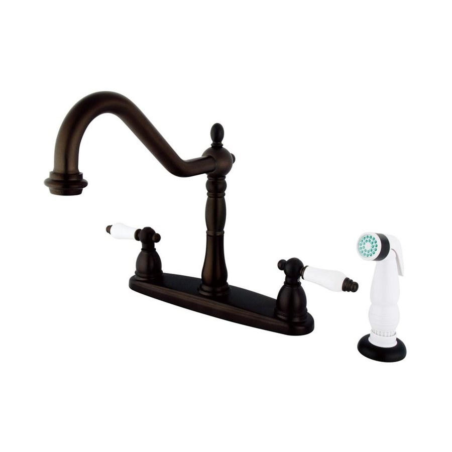 Elements of Design New Orleans Oil-Rubbed Bronze 2-Handle High-Arc Sink/Counter Mount Kitchen Faucet with Side Spray