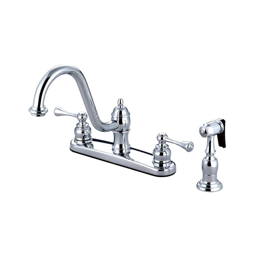 Elements of Design St. Louis Chrome 2-Handle High-Arc Sink/Counter Mount Kitchen Faucet with Side Spray