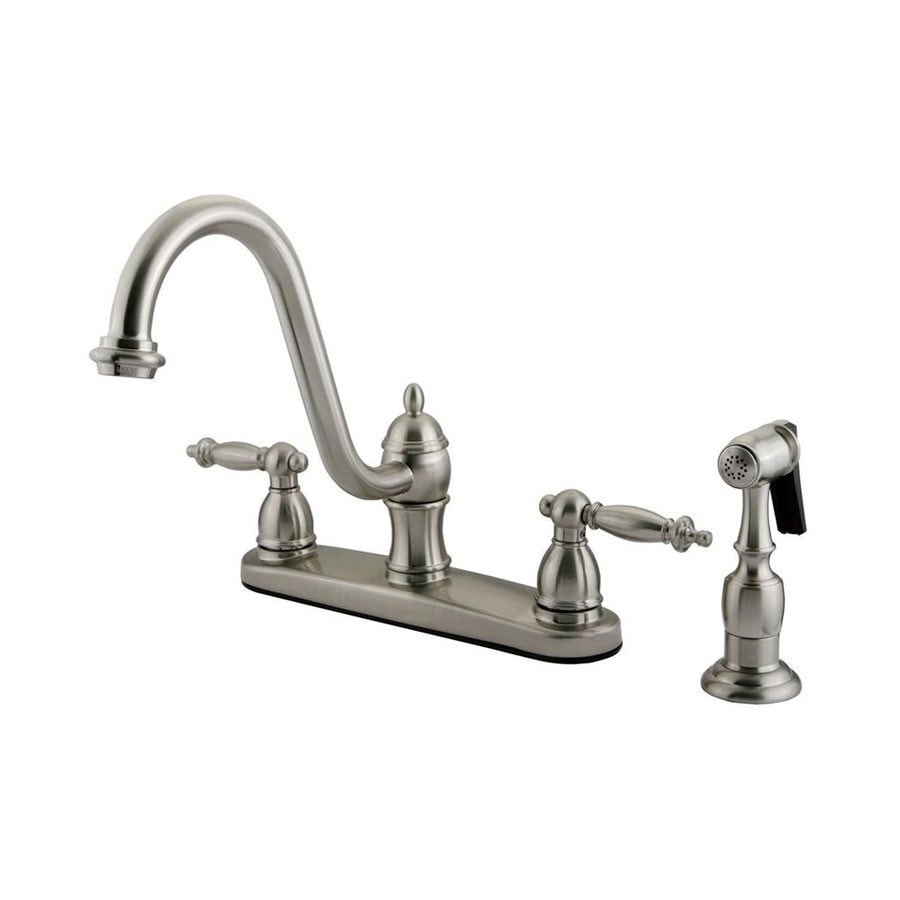 Elements of Design Templeton Satin Nickel 2-Handle High-Arc Sink/Counter Mount Kitchen Faucet with Side Spray