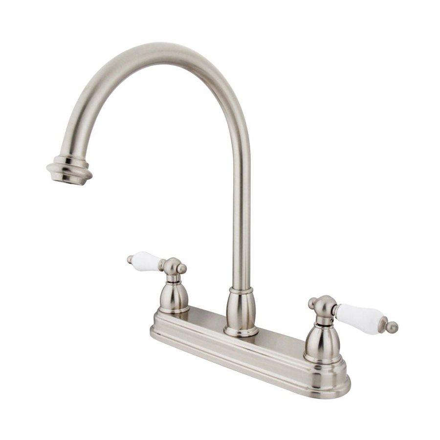 Elements of Design Chicago Satin Nickel 2-Handle High-Arc Sink/Counter Mount Kitchen Faucet