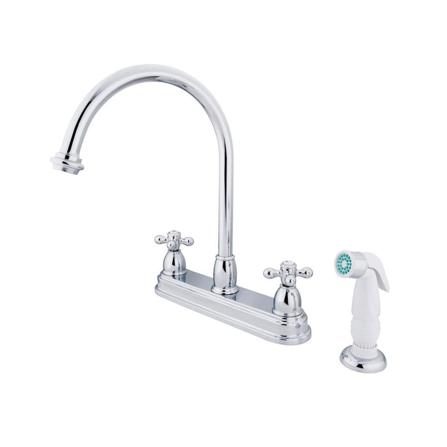 Elements of Design Chicago Chrome 2-Handle High-Arc Sink/Counter Mount Kitchen Faucet with Side Spray