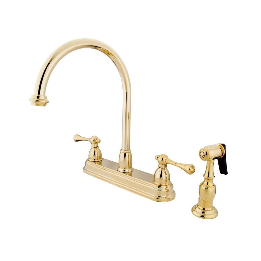 Elements of Design St. Louis Polished Brass 2-Handle High-Arc Sink/Counter Mount Kitchen Faucet with Side Spray