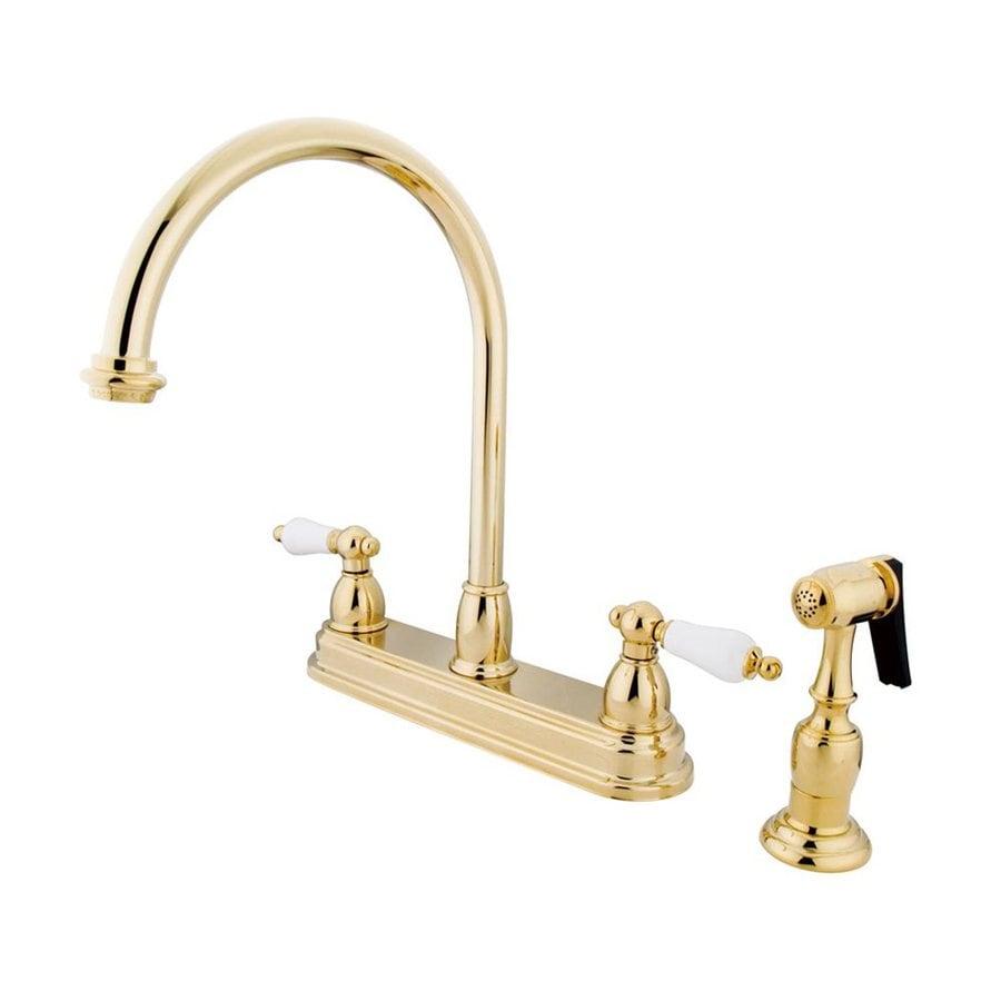 Shop elements of design chicago polished brass 2 handle high arc sink counter mount kitchen for Polished brass high arc bathroom faucet