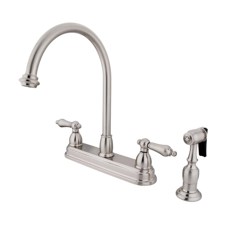 Shop Elements Of Design Chicago Satin Nickel 2 Handle High Arc Sink Counter Mount Kitchen Faucet